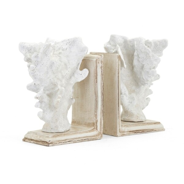 Polyresin Coral Bookends, Set of Two, White and Beige