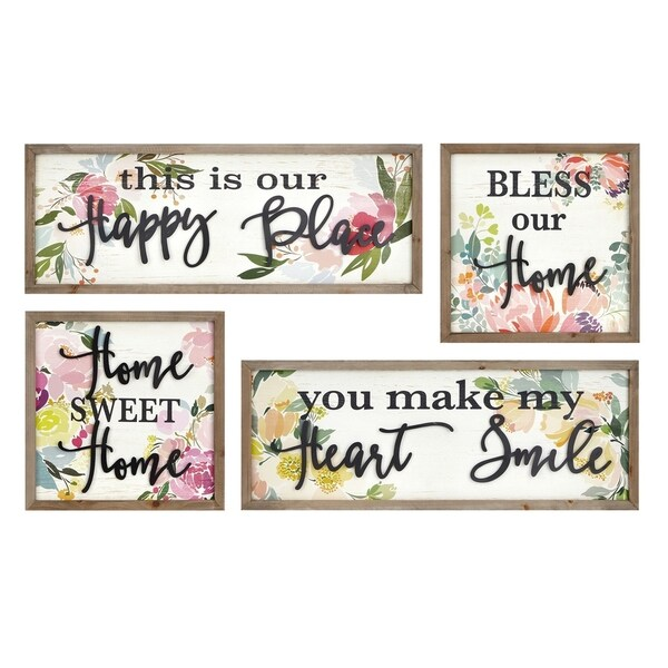 Wood and Metal Crafted Wall D�cor with Typography, Set of 4, Multicolor