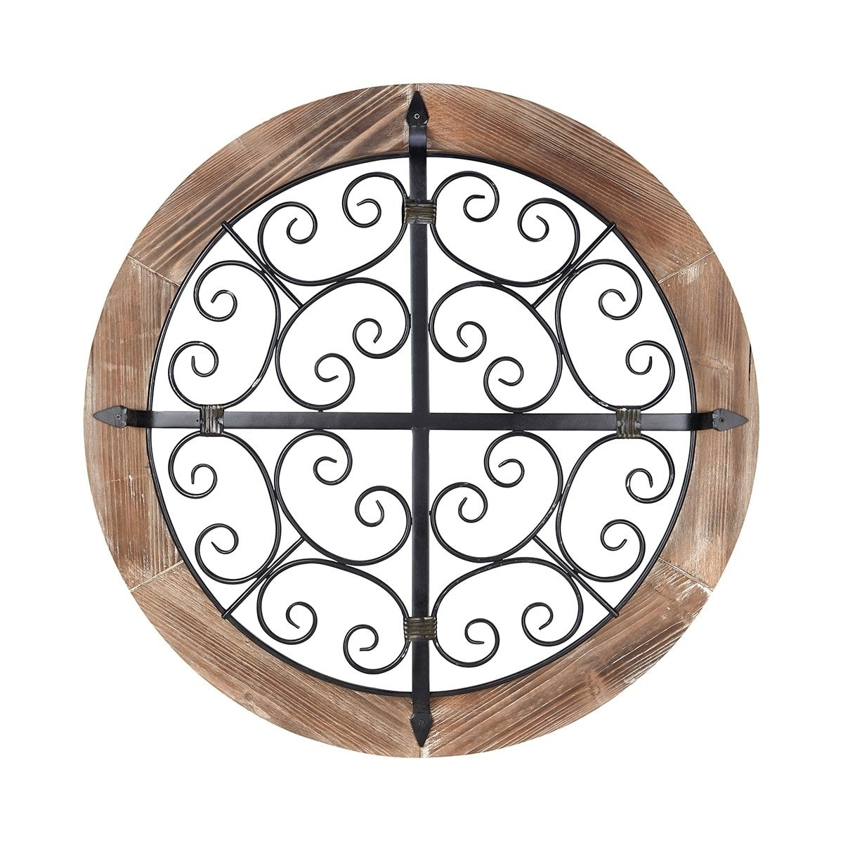 Wooden Framed Round Iron Wall Dï Cor Brown And Black Overstock 26060930