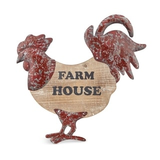 Wood and Metal Rooster Wall D�cor, Red and Brown