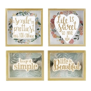 Wood and Paper Crafted Wall Block Decors, Set of Four, Multicolor