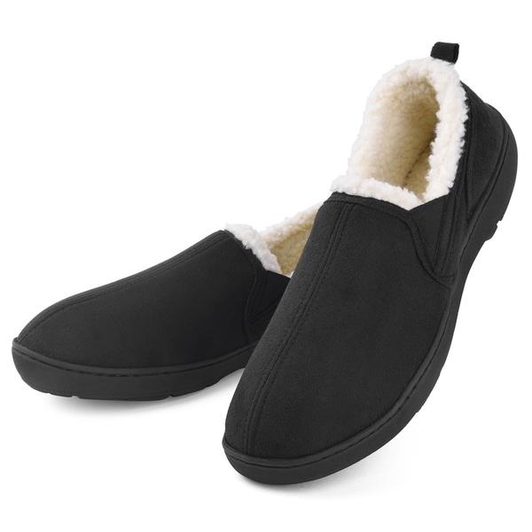 Men/'s Memory Foam Slip On Slippers Plush Lined House Shoes for Anti-Skid Rubber