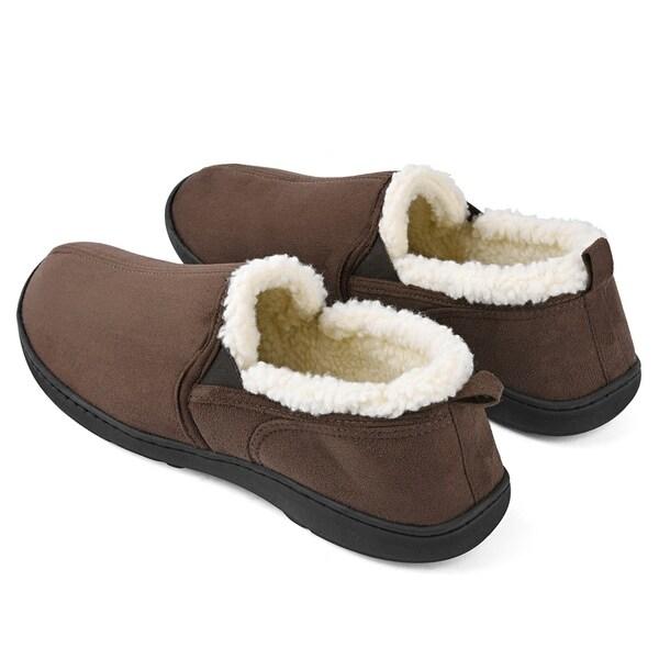 Men/'s Wool Plush Fleece Lined Slip on Memory Foam Clog House Slippers Outdoor