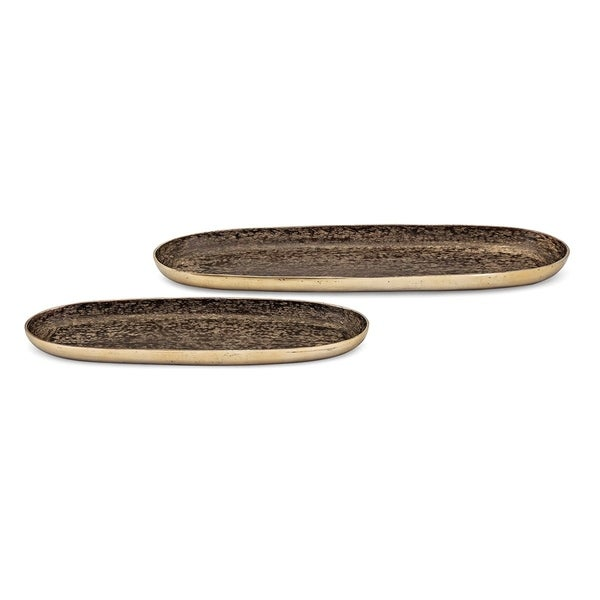 Decorative Aluminum Trays In Oval Shape, Set of 2, Brown and Gold