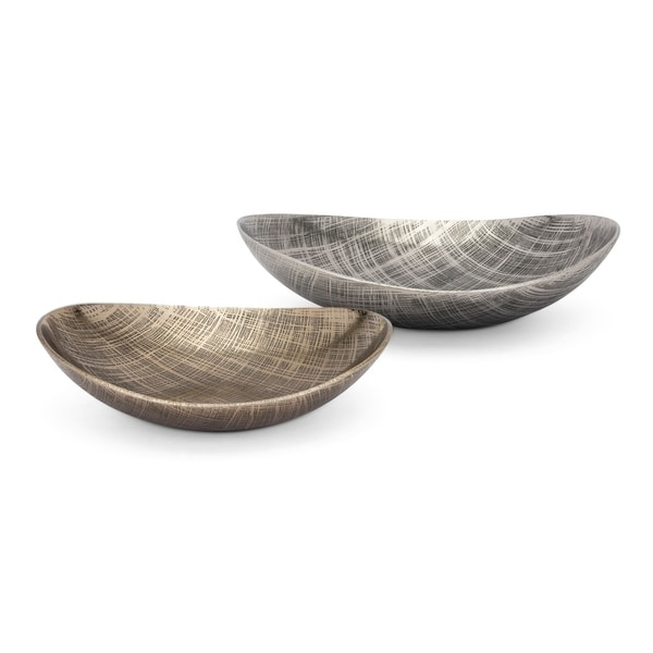 Aluminum Decorative Trays with Textured Surface, Set of Two, Gold and Silver