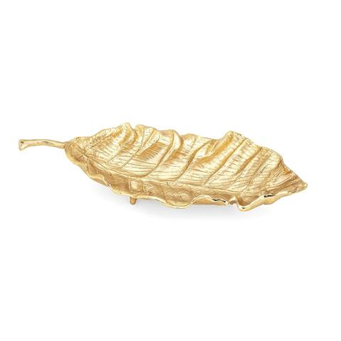 Aluminum Crafted Decorative Leaf Tray with Stem Handle, Metallic Gold