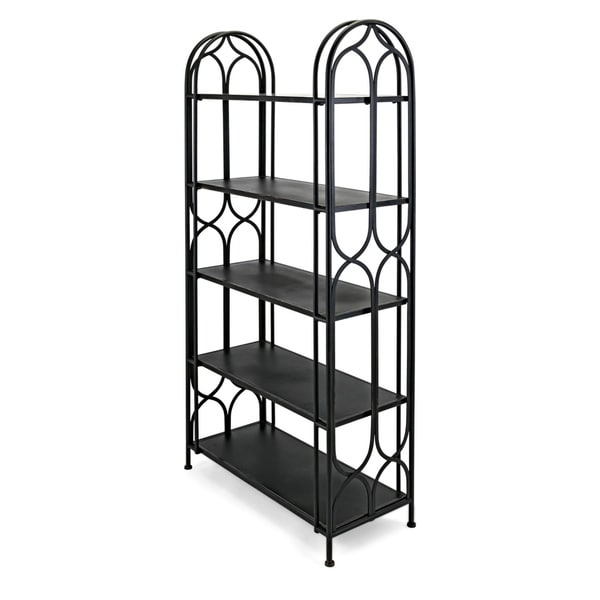 Spacious Five Tier Metal Shelf with Geometric Patterned Sides, Black