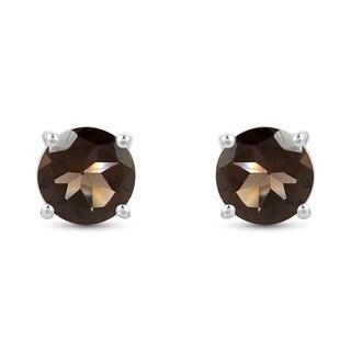 3.74 Carat Genuine Smoky Quartz Earrings in .925 Sterling Silver