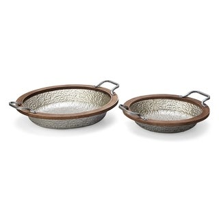 Wood Round Metal Tray with Handle, Brown and Silver, Set of Two