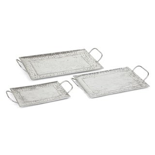 Metal Rectangular Tray with Handle, Silver, Set of Three