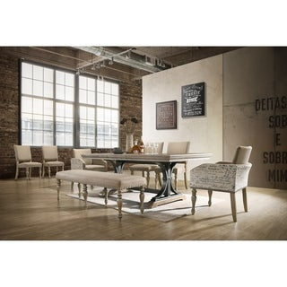 Birmingham Driftwood 8-piece Table with Nail Head Bench and Arm Chair Dining Set