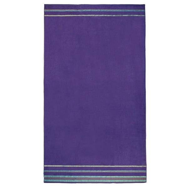 Kaufman Oversized 40 X 70 Solid Color Velour Super Soft Beach And Pool Towel Set Of 2 Pieces Easy Care Purple