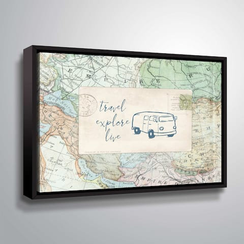 """ArtWall """"Travel Posts II"""" Gallery Wrapped Floater-framed Canvas"""