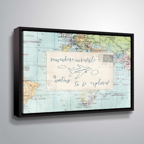 """ArtWall """"Travel Posts IV"""" Gallery Wrapped Floater-framed Canvas"""