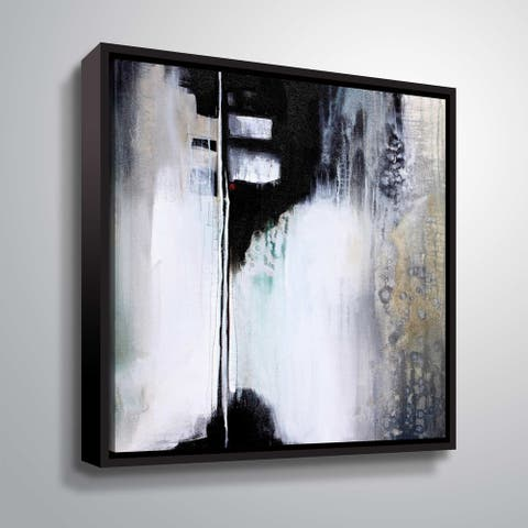 """ArtWall """"Black and White Drama"""" Gallery Wrapped Floater-framed Canvas"""