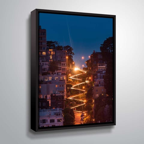 """ArtWall """"Lombard Street"""" Gallery Wrapped Floater-framed Canvas"""