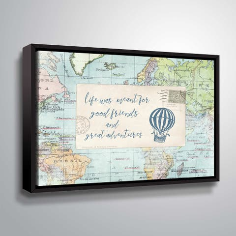 """ArtWall """"Travel Posts III"""" Gallery Wrapped Floater-framed Canvas"""