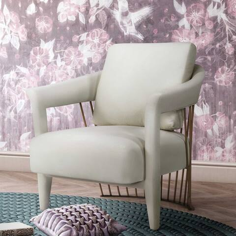 Silver Orchid Balfour Cream Velvet Chair