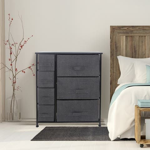 "6 Drawers Chest Dresser - Black - 25"" L x 11.87"" W x 28.75"" H - 25"" L x 11.87"" W x 28.75"" H"