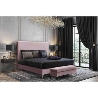 Delilah Blush Textured Velvet Bed in King