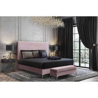 Delilah Blush Textured Velvet Queen Bed