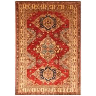 Handmade Super Kazak Wool Rug (Afghanistan) - 6' x 9'