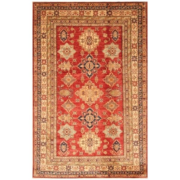 Handmade Super Kazak Wool Rug (Afghanistan) - 5'9 x 9'