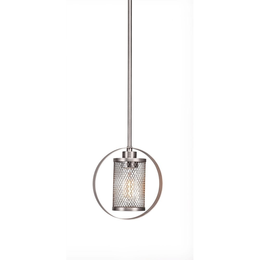 Toltec 1 Light Pendant Shown In Brushed Nickel Finish With Clear Led Bulb Edison