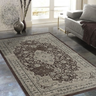 "Allstar Rugs Distressed Espresso and Mocha Rectangular Accent Area Rug with Ivory Persian Design - 7' 6"" x 9' 8"""