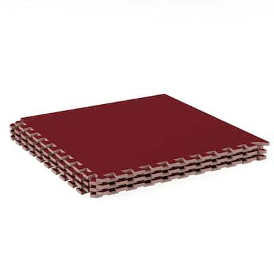 Foam Floor Mat -Interlocking EVA Foam Padding with Soft Carpet Top for Exercise, Yoga, Kids Playroom -6 PC Set by Stalwart (Red)