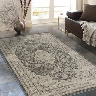 "Allstar Rugs Distressed Grey and Cream Rectangular Accent Area Rug with Ivory Persian Design - 7' 6"" x 9' 8"""