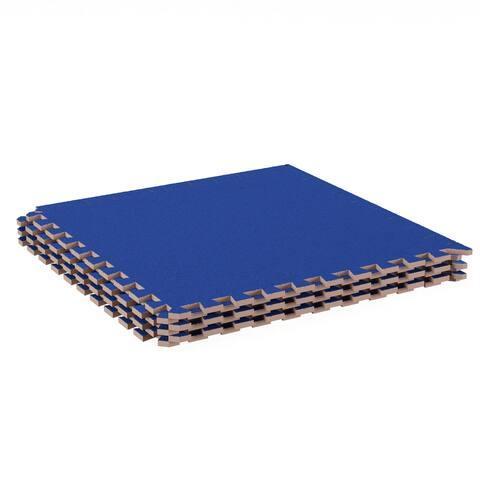 Foam Floor Mat -Interlocking EVA Foam Padding with Soft Carpet Top for Exercise, Yoga, Kids Playroom -6PC Set by Stalwart (Blue)