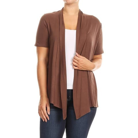 Women's Solid Draped Sleeve Plus Size Sweater Cardigan