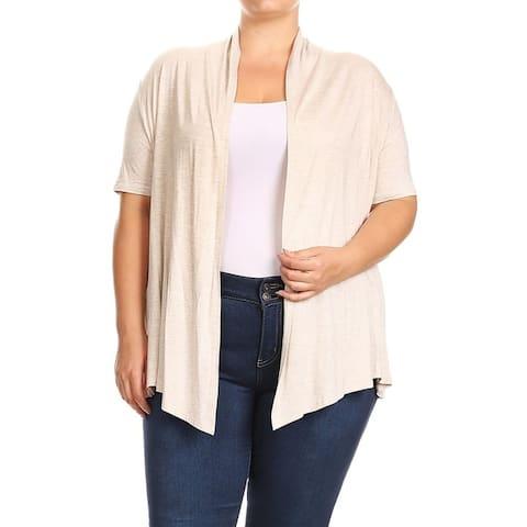 Women's Solid Draped Sleeve Plus Size Sweater Cardigan