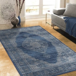 "Allstar Rugs Distressed Midnight Blue and Steel Blue Rectangular Accent Area Rug with Beige Persian Design - 4' 11"" x 7' 0"""