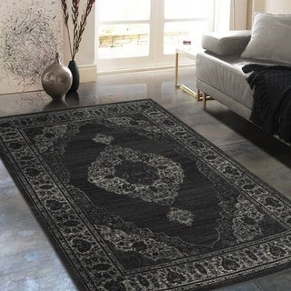 """Allstar Rugs Distressed Grey and Black Rectangular Accent Area Rug with Beige Persian Design - 4' 11"""" x 7' 0"""""""