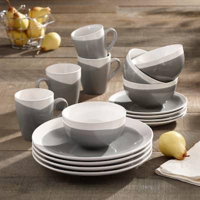 American Atelier Oasis Charcoal Stoneware 16-Piece Dinnerware Set