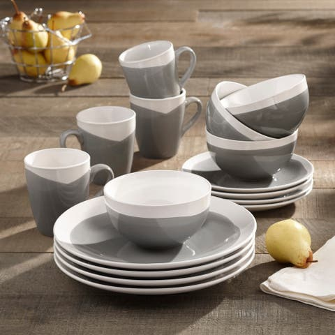 American Atelier Oasis Charcoal Stoneware 16-Piece Dinnerware Set