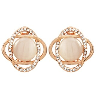 Luxiro Rose Gold Finish Shiny Pink Faux Pearl with Crystals Clip-on Earrings