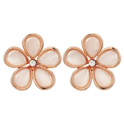 Luxiro Rose Gold Finish Shiny Pink Faux Pearl with Crystal Flower Clip-on Earrings