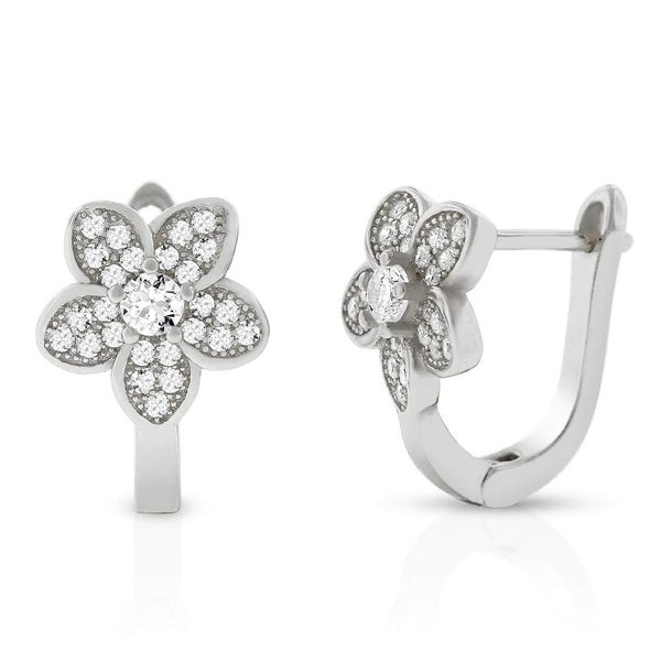 35280eae9 Shop .925 Sterling Silver Floating Halo Flower Micro Pave Cubic Zirconia CZ  Huggie Earrings White - Free Shipping On Orders Over $45 - Overstock -  26063038