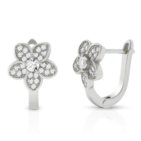 .925 Sterling Silver Floating Halo Flower Micro Pave Cubic Zirconia CZ Huggie Earrings White