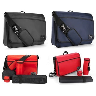 Diaper Bag Messenger Style with Changing Pad and insulated Bottle Carrier