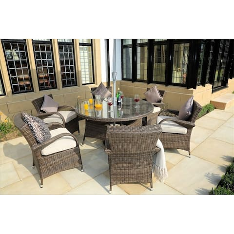 Outdoor 7 Piece Wicker Dining Set Patio Round Table with Eton Chairs