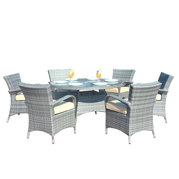 7 Piece Outdoor Patio Wicker Round Dining Set with 6 Chairs - Grey