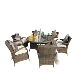 7 Piece Patio Wicker Round Dining Table Set with 6 Chairs - Brown