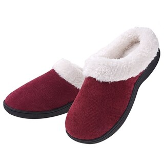 Women's Plush Fleece Memory Foam Slippers Slip on Clog House Shoes Indoor Outdoor