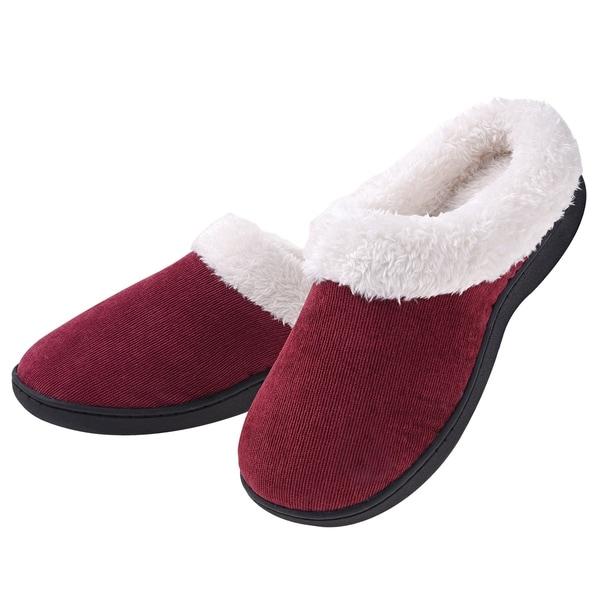 3c9c2e1807127 Women's Plush Fleece Memory Foam Slippers Slip on Clog House ...