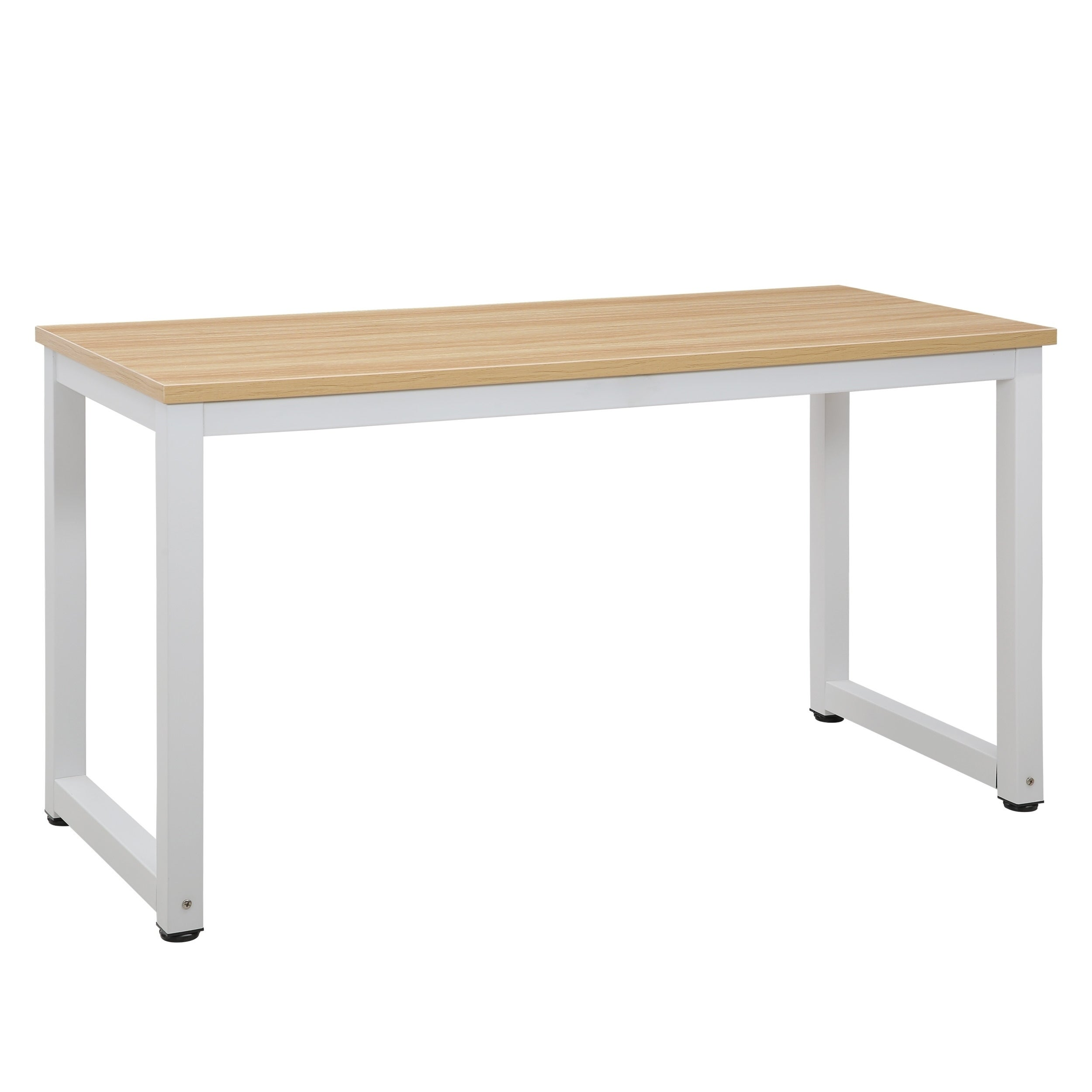 Poly And Bark Grover Natural Wood Finish Large Office Desk With White Metal Legs