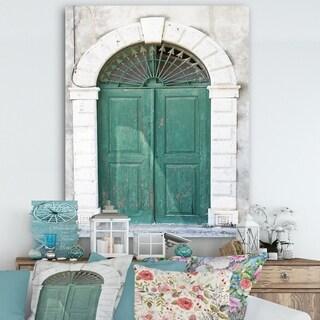 Designart 'Old European Vintage Door' Vintage Gallery-wrapped Canvas - Green/White